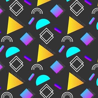 Padrão de memphis elementos geométricos na moda.