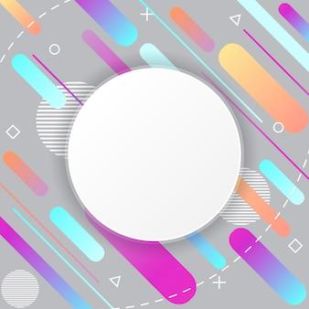 Padrão de memphis no fundo cinza com adesivo de círculo