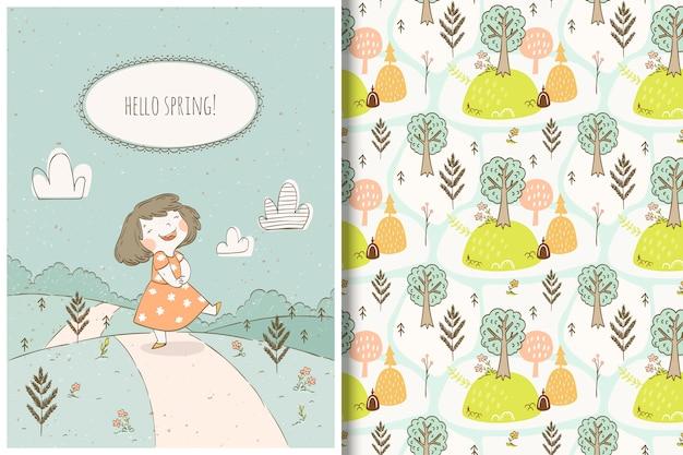 Padrão de menina e floresta bonito dos desenhos animados