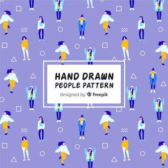 Padrão de meninas desenhadas a mão