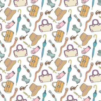 Padrão de moda doodle com acessórios e bolsas. padrão sem costura desenhado a mão no vetor. fundo de compras femininas
