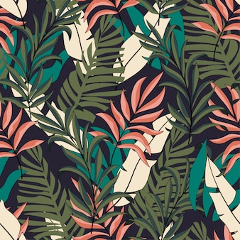 Padrão de moda sem costura tropical na moda com folhas verdes e rosa brilhantes
