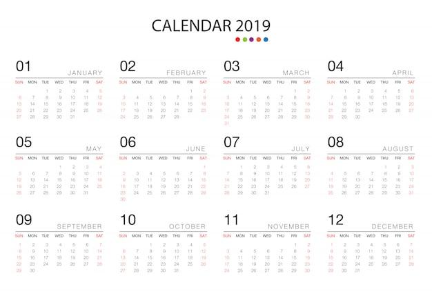Padrão de modelo de calendário 2019