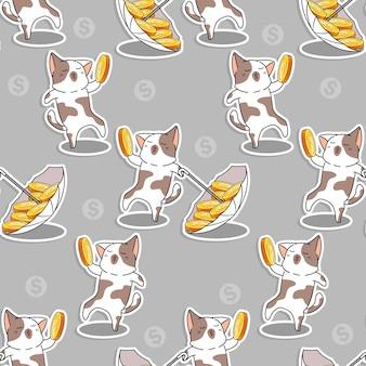 Padrão de moedas de amor de gato sem costura