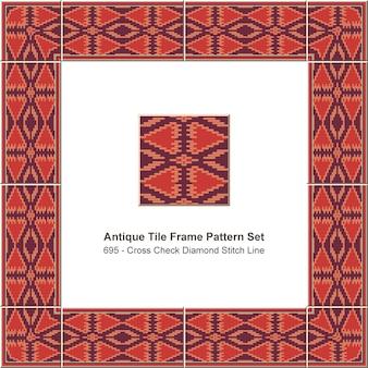 Padrão de moldura de azulejo antigo definido linha de ponto de diamante de verificação cruzada aborígene, decoração de cerâmica.