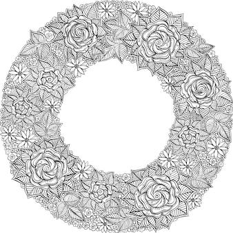 Padrão de moldura floral preto e branco de vetor