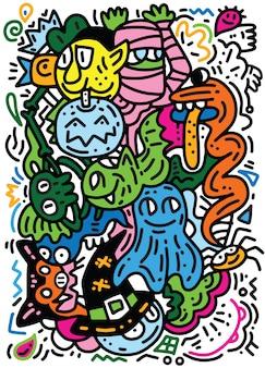 Padrão de monstros engraçado para livro de colorir. fundo preto e branco
