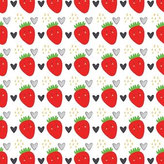 Padrão de morango e coração. frutas sem costura de fundo vector vermelho
