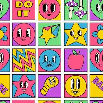 Padrão de mosaico de quadrados sem costura engraçados personagens malucos. conjunto de formas geométricas psicodélicas em quadrinhos com rostos de desenhos animados retrô dos anos 50