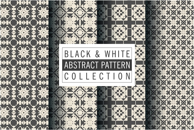 Padrão de mosaico definido em preto e branco