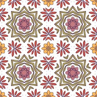 Padrão de mosaico floral Vetor Premium