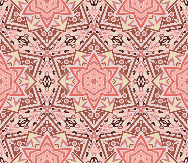 Padrão de mosaico geométrico abstrato rosa com estrelas e flechas. textura de fundo ornamental sem costura