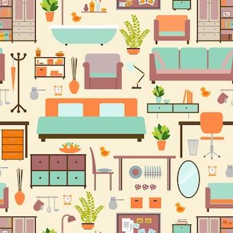Padrão de móveis de casa sem costura, casa de fundo, decoração de objetos, sofá e interior.