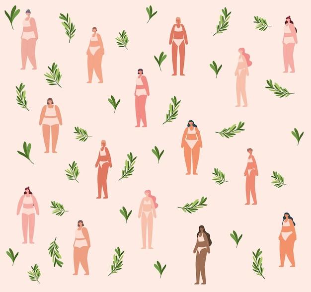 Padrão de mulheres bonitas em roupas íntimas. conceito de diversidade