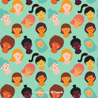 Padrão de mulheres desenhadas mão colorido
