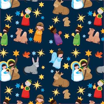 Padrão de natal com a sagrada família e desenhos de personagens