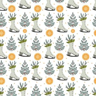 Padrão de natal com árvores de natal e laranjas