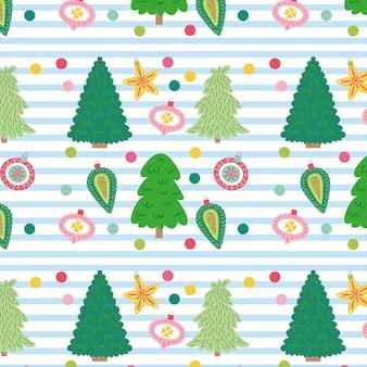 Padrão de natal com árvores e bolas de natal