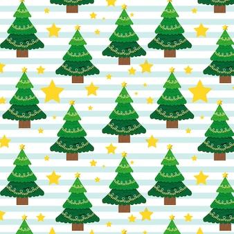 Padrão de natal com árvores e estrelas Vetor Premium