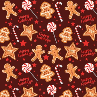 Padrão de natal com biscoitos e doces Vetor Premium