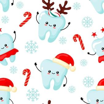 Padrão de natal com dentes kawaii. estilo cartoon