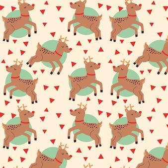 Padrão de natal com desenho de renas