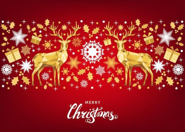 Padrão de natal com letras e veados de natal de ouro e flocos de neve. decoração da árvore. feliz ano novo fundo vermelho. modelo colorido de vetor para cartão.