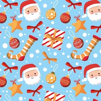 Padrão de natal com presentes de papai noel e estrelas