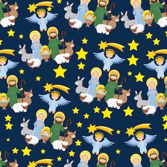 Padrão de natal com presépio com estrelas