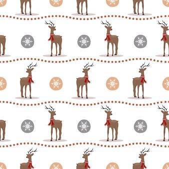 Padrão de natal com renas. veados bonitos com chifres e lenços. impressão de inverno.