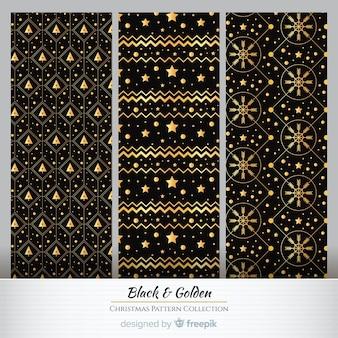Padrão de natal de elementos dourados