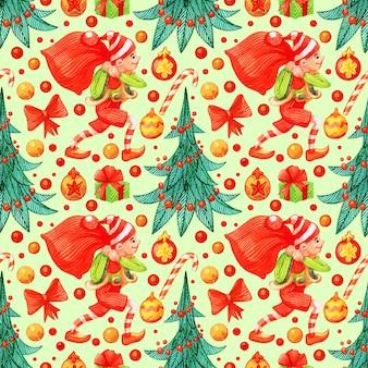 Padrão de natal de estilo retro. fundo infinito de inverno. ilustração colorida pode ser usada para impressão em papel e tecido. feriado. tema de ano novo. coroa de flores, azevinho e outros símbolos tradicionais.