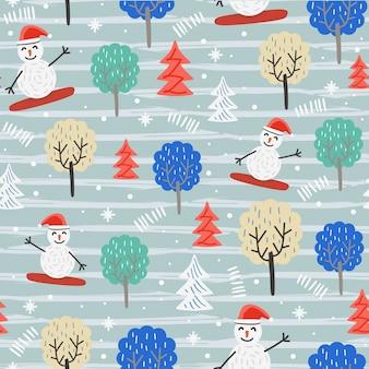 Padrão de natal divertido com boneco de neve e árvores