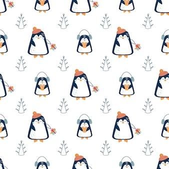 Padrão de natal e ano novo padrão sem emenda com árvore de natal abstrata e pinguins fofos