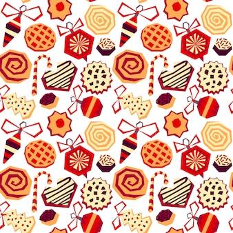 Padrão de natal e feliz ano novo com elementos decorativos de mão desenhada. estilo vintage moderno.