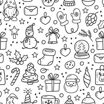 Padrão de natal em desenho animado estilo doodle em um fundo branco