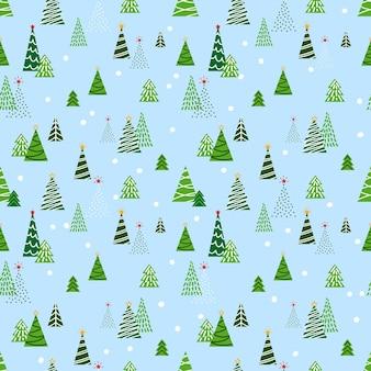 Padrão de natal festivo e brilhante com árvores de natal de desenhos animados estilizados