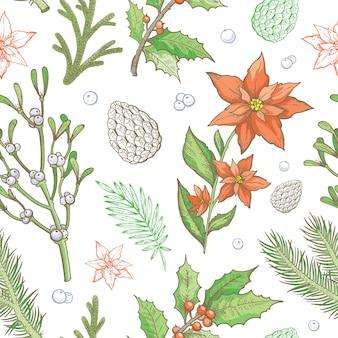 Padrão de natal. fundo sem emenda da planta de inverno. papel de parede floral de férias vintage.