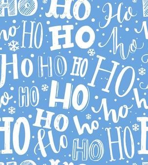Padrão de natal plano de fundo transparente com texto hohoho papel de embrulho de presente azul e branco