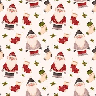 Padrão de natal sem costura anões em camisolas fofas vermelhas e cinza meias de azevinho papel de embrulho