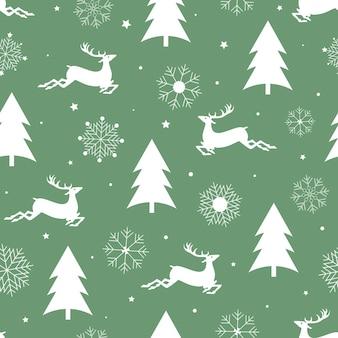 Padrão de natal sem costura árvore do abeto de renas e flocos de neve em um fundo verde