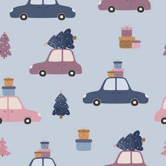 Padrão de natal sem costura carros bonitos com caixas de presente e uma árvore de natal