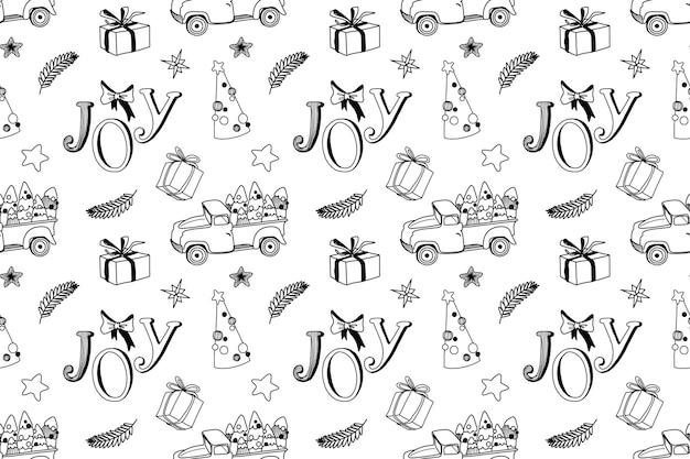 Padrão de natal sem costura com árvores de caminhão e elementos de férias