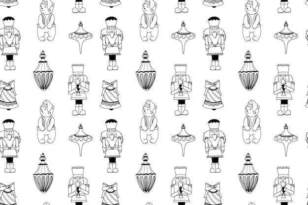 Padrão de natal sem costura com brinquedos quebra-nozes e elementos de férias fundo de doodle de inverno