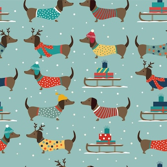Padrão de natal sem costura com dachshunds, trenó e flocos de neve.