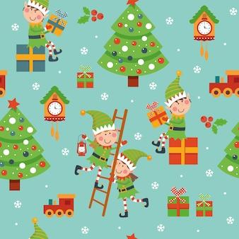 Padrão de natal sem costura com duendes, relógio, árvore sobre fundo azul.