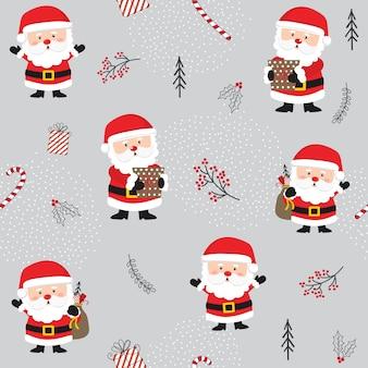 Padrão de natal sem costura com enfeites de papai noel e natal bonitos.