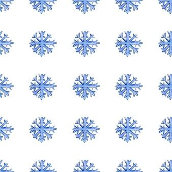 Padrão de natal sem costura com flocos de neve em uma ilustração vetorial de fundo branco