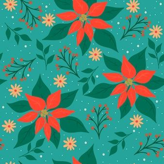 Padrão de natal sem costura com flora de inverno.