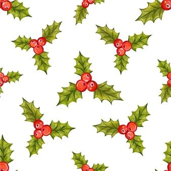 Padrão de natal sem costura com ilustração vetorial de bagas de azevinho